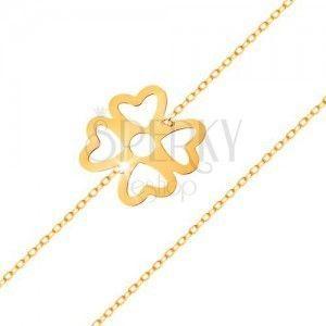 Bransoletka z żółtego złota 585 - symbol szczęścia czterolistna koniczynka z wycięciami, lśniący łańcuszek obraz