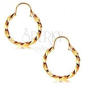 Okrągłe kolczyki z żółtego 14K złota - lśniący wzór skręconej liny, 12 mm obraz