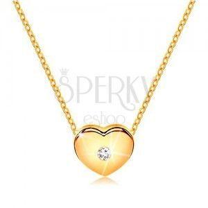 Diamentowy naszyjnik, żółte 585 złoto - serduszko z bezbarwnym brylantem, cienki łańcuszek obraz