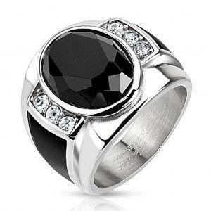 Stalowy pierścionek z czarnym oszlifowanym owalem, przezroczystymi cyrkoniami i czarnymi paskami obraz