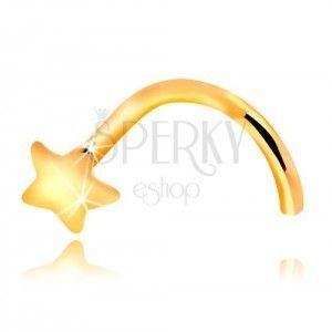 Piercing do nosa z żółtego 14K zlata - zagięty, mała gwiazdka obraz