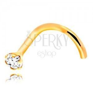 Zagięty piercing do nosa z żółtego 14K złota, bezbarwna okrągła cyrkonia, 1, 5 mm obraz