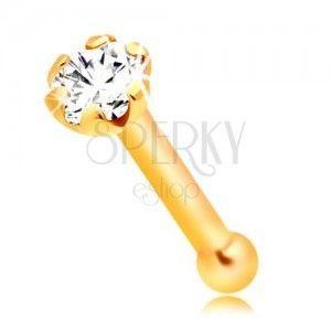 Piercing do nosa z żółtego 14K złota - prosty kształt, bezbarwna okrągła cyrkonia, 1, 5 mm obraz