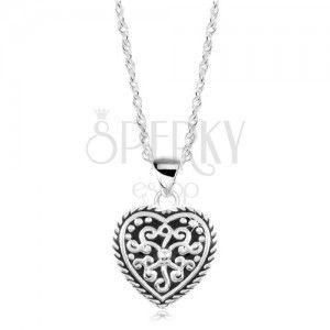 Srebrny naszyjnik 925, serce z patyną i ornamentami obraz