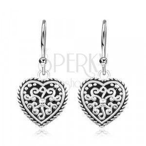 Kolczyki ze srebra 925, serce z patyną i ornamentami obraz