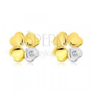 Kolczyki z 14-karatowego złota - koniczynka na szczęście, serce z cyrkonią obraz