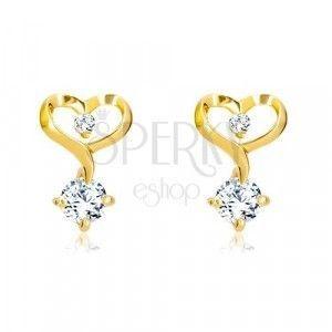 Diamentowe kolczyki z 14-karatowego żółtego złota - kontur serca z diamentami obraz