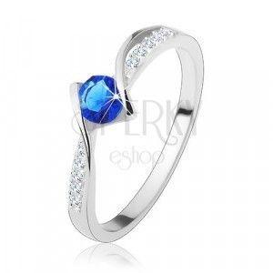 Srebrny pierścionek 925 - faliste linie, niebieska cyrkonia, przezroczyste cyrkoniowe linie obraz