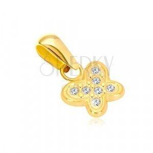 Zawieszka z 14-karatowego złota - błyszczący motylek zdobiony drobnymi przezroczystymi cyrkoniami obraz