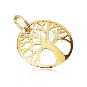 Zawieszka z żółtego złota 375 - bogato wycięte koło, drzewo życia obraz