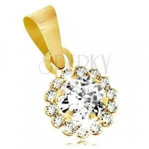Zawieszka z żółtego 9K złota - bezbarwny błyszczący cyrkoniowy kwiatek obraz