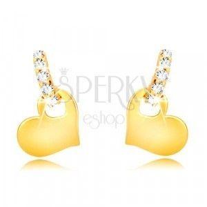 Kolczyki z żółtego 9K złota - cyrkoniowy łuk, lśniące symetryczne serce obraz