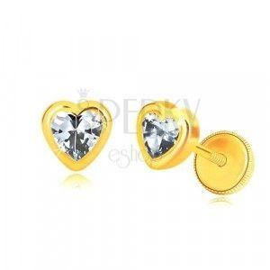 Kolczyki z żółtego złota 585 - zarys symetrycznego serca, cyrkonia w kształcie serca, wkrętka z gwintem obraz