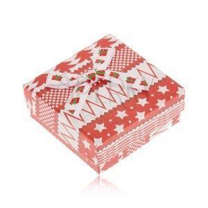 Czerwono-białe pudełeczko na kolczyki, gwiazdy, drzewa, kulki, kokarda obraz