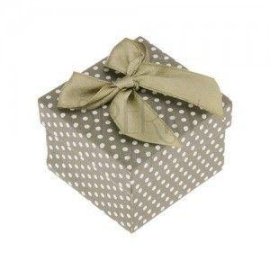 Prezentowe pudełeczko na pierścionek lub kolczyki, zielona powierzchnia, kropki, kokarda obraz
