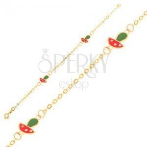 Złota bransoletka 375 - lśniący łańcuszek, dwie zawieszki w postaci emaliowanych muchomorków obraz