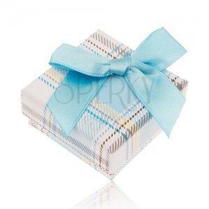 Pudełeczko na biżuterię z kraciastym wzorem, jasnoniebieska kokardka obraz