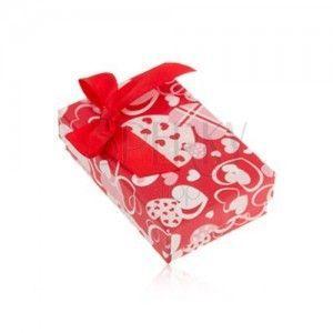 Czerwone pudełeczko na kolczyki i pierścionek lub wisiorek, serduszka, kokarda obraz