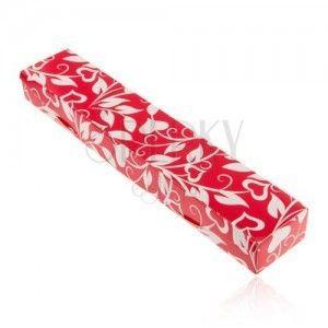 Czerwono-białe upominkowe pudełeczko na łańcuszek lub zegarek, serduszka, liście obraz