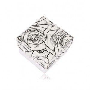 Czarno-białe pudełeczko na pierścionek lub kolczyki - motyw kwitnących róż obraz