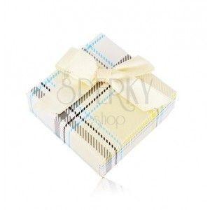 Pudełeczko prezentowe na kolczyki lub pierścionek - żółty wzór w kratę, kokardka obraz