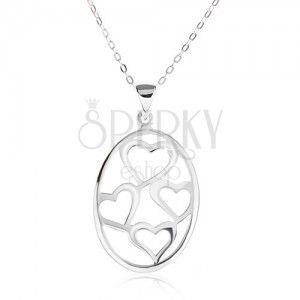Naszyjnik z owalnym wisiorkiem, kontury asymetrycznych serc, srebro 925 obraz