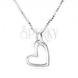 Naszyjnik z konturem nieregularnego serca, kanciasty łańcuszek, srebro 925 obraz