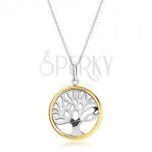 Naszyjnik ze srebra 925 z dwukolorową zawieszką - lśniące drzewo życia w kółku obraz