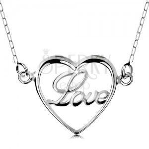 Naszyjnik ze srebra 925, łańcuszek i zawieszka - cienki zarys serduszka, napis Love obraz