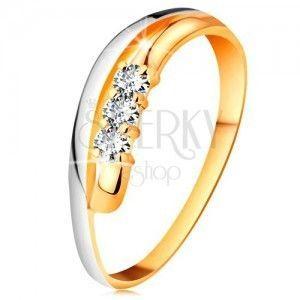 Brylantowy pierścionek z 18K złota, faliste dwukolorowe linie ramion, trzy bezbarwne diamenty obraz