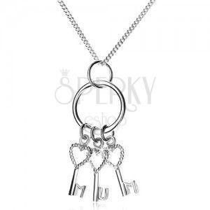 Srebrny naszyjnik 925 - łańcuszek i trzy kluczyki na kółku, MUM obraz