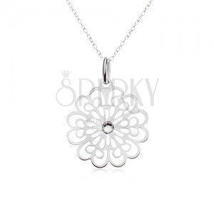 Naszyjnik srebro 925 - łańcuszek, przezroczysta cyrkonia, płaski wycinany kwiat obraz