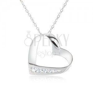 Naszyjnik, srebro 925, łańcuszek, kontur serca, linia przeźroczystych cyrkonii obraz