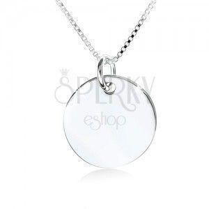 Srebrny naszyjnik 925, lustrzana lśniąca okrągła płytka bez wzoru obraz