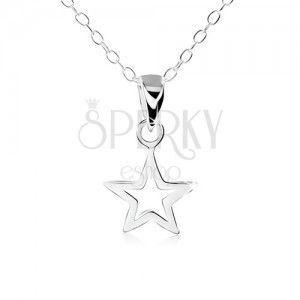 Srebrny naszyjnik 925, zarys płaskiej pięcioramiennej gwiazdki obraz
