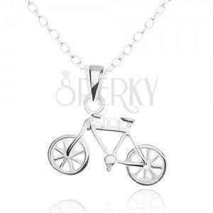 Srebrny naszyjnik 925, dokładnie wycinany wisiorek - rower obraz