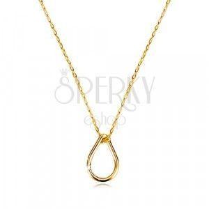 Naszyjnik z żółtego 14K złota - delikatny łańcuszek, błyszczący kontur kropli obraz