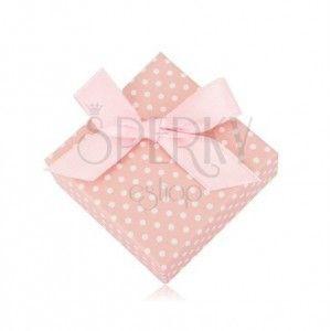 Pudełko w kropki, na kolczyki lub dwa pierścionki - pastelowy różowy odcień, kokardka obraz