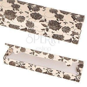 Papierowe pudełko na prezent - beżowe, w czarne kwiatki obraz