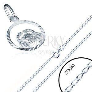 Lśniący srebrny łańcuszek 925 i zawieszka znak zodiaku RAK obraz