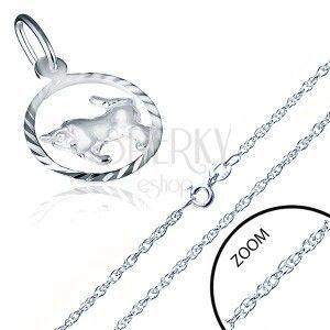 Naszyjnik srebro 925 - spiralnie skręcony łańcuszek, znak Zodiaku BYK obraz