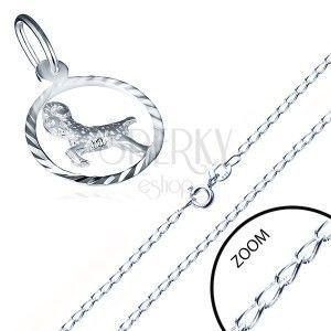 Lśniący łańcuszek i zawieszka srebro 925 - gładkie ogniwa, znak zodiaku BARAN obraz
