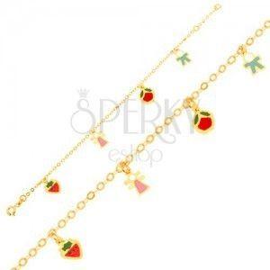 Bransoletka z żółtego złota 9K, łańcuszek, truskawka, dziewczynka, jabłko, chłopczyk obraz