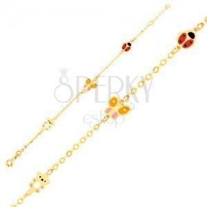 Złota bransoletka 375 na rękę, emaliowany miś, motyl, biedronka, lśniący łańcuszek obraz