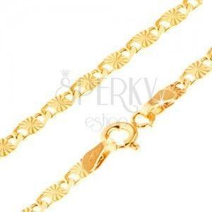 Złota bransoletka 585 - płaskie ogniwa z promienistymi rowkami i wycięciami, 210 mm obraz