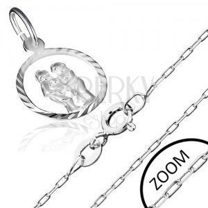 Srebrny łańcuszek i wisiorek 925 ze znakiem Zodiaku, BLIŹNIĘTA obraz