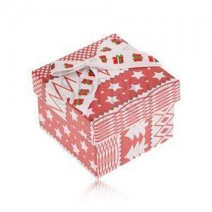 Czerwono-białe pudełeczko prezentowe, motyw świąteczny, kokardka obraz