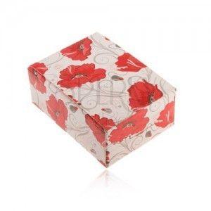 Upominkowe pudełeczko na pierścionek i kolczyki albo łańcuszek, czerwone kwiaty obraz