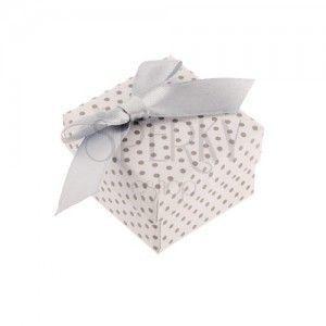 Upominkowe pudełeczko na pierścionek lub kolczyki, biała powierzchnia, szare kropki i kokarda obraz