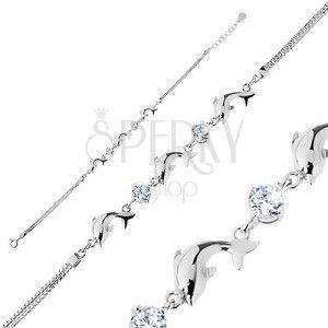 Bransoletka ze srebra 925, podwójny łańcuszek, lśniące delfiny, przezroczyste błyszczące cyrkonie obraz
